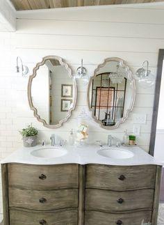 110 spectacular farmhouse bathroom decor ideas (50)