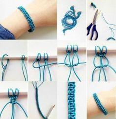 Comment fabriquer un bracelet macramé en scoubidou ? Macrame Bracelet Diy, Bracelet Crafts, Jewelry Crafts, Handmade Jewelry, Macrame Knots, Macrame Earrings, Macrame Jewelry, Jewelry Ideas, Armband Diy
