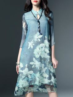 Blue Floral Floral-print H-line Casual Midi Dress - StyleWe.com
