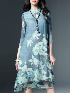 Blue Floral Floral-print H-line Casual Midi Dress - StyleWe.com
