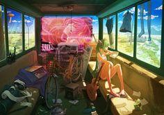 Hatsune miku, vocaloid, девушка, гитара, велосипед, одежда, 2208x1561.jpg (2208×1561)