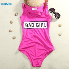 Solid Bad Girl Monokini Swimsuit Sexy One Piece Swim Suits Women Bathing Suit L