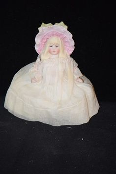 OLD Doll Bisque Molded Fancy Hat Bonnet Miniature Dollhouse