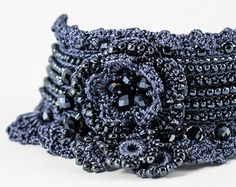 Black Crochet Bracelet Cuff. Beaded Crochet by KaterinaDimitrova