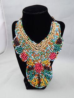 "Estate Modern Wood & Glass Bead On Felt Haute Couture Runway Necklace 20"" adj"