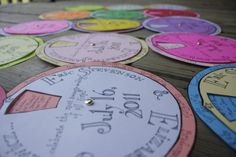 Super awesome, brightly colored, interactive program wheels.... I live this idea!!!