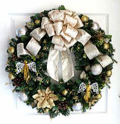 Christmas Wreath  Gold Christmas Wreath  by WeddingsAndWreaths