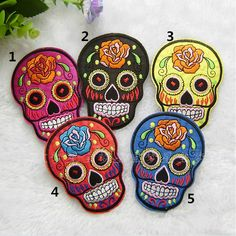 New to craftapplique on Etsy: 6.59.4cm suger skull patch funny face patch punk patch git patch Embroiderypatch Embroidered patches iron on patch sew on patch A142 (3.00 USD)