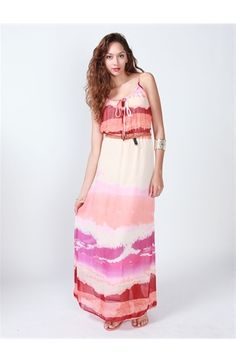 Watercolor Chiffon Belted Maxi