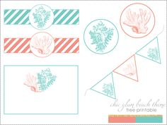 coral and aqua seashells free printable