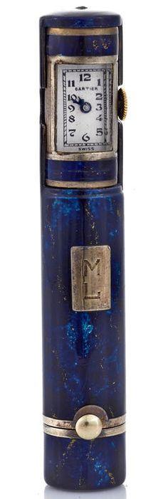 Cartier - Etui Rouge à Lèvres 'Montre Secrète' - Lapis Lazuli - Années 30