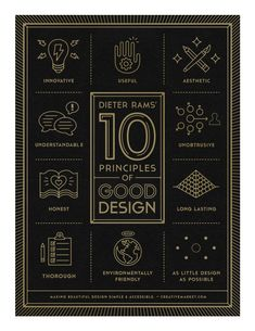 Dieter Rams 10 Principles of Good Design - Poster by Gerren Lamson Graphic Design Print, Graphic Design Typography, Graphic Design Inspiration, Graphic Prints, Branding Design, Daily Inspiration, Graphic Designers, Web Design, Tool Design