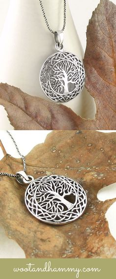 Tree of life necklace with Celtic knot medallion in sterling silver.