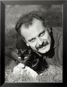 Georges Brassens, June 1960 People Photographic Print - 46 x 61 cm Portrait Photo, Photo Art, Celebrities With Cats, Celebs, Men With Cats, Son Chat, Typography Poster Design, Ferrat, Cat People