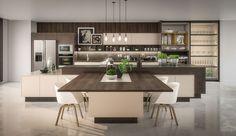 Decoração de casa, interiore design, acabamento Bontempo, plantas na decoração, pendente, na cozinha móvel com nichos amarelos, madeira e branco.