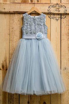 27b310e8e6e Gray lace flower girl dress girls tutu dress tulle lace baby dress  flowergirl rustic flower girl dre