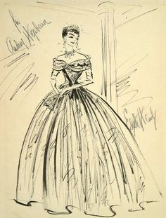 The Fashion of Audrey: The evening gown of Princess Ann… Illustrated by... Edith Head