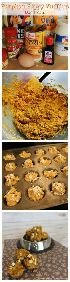 Pumpkin Puppy Muffins. An easy healthy fall treat for your pup! #fall #pumpkin #dogtreats