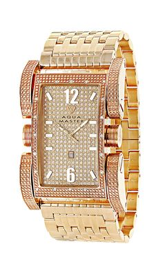 this men s aqua master diamond watch is the latest in style when affordable aqua master mens watches this mens aqua master diamond watch is rose gold plated