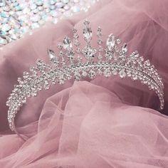 A Girl Inspired Tiara Queen Crown Aesthetic, Pink Aesthetic, Princess Aesthetic, Bridal Crown, Bridal Tiara, Tiara For Wedding, Wedding Crowns, Wedding Tiaras, Rhinestone Wedding