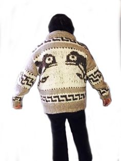 Genuine Cowichan Sweaters, made to order. Knit from raw sheep's wool & hand crafted by local Cowichan knitters with your choice of size & design. Cowichan Sweater, Men Sweater, Sweater Patterns, Crochet Patterns, Knit Wear, Sweater Making, Native Art, Yarn Crafts, Vests