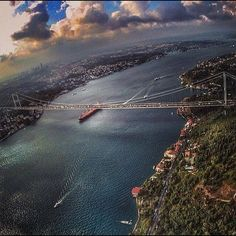 The Bosphorus, Istanbul, Turkey. One of the most wonderful cities I ever been. The only city in the world located on two different continents ( Europe and Asia ). Budapest, Places To Travel, Places To See, Places Around The World, Around The Worlds, Wonderful Places, Beautiful Places, Bosphorus Bridge, Turkey Travel