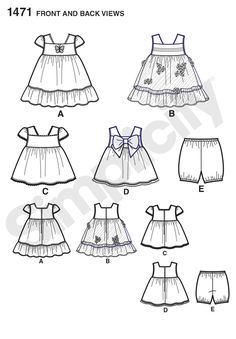 Simplicity Creative Group - Babies Dress, Top and Bloomers