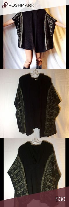 Black Knit Hooded Poncho Ecote XS/S Black Knit Hooded Poncho Ecote XS/S there is white Aztec print running along the outer edge the arms have roomy arm holes sewn together by a few stitches. Excellent Used Condition Ecote Sweaters