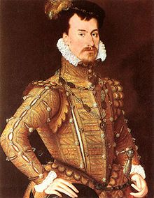 Robert Dudley, Earl of Leicester (by Steven van der Meulen) - A c. 1560 CE portrait attributed to Steven van der Meulen of Robert Dudley, Earl of Leicester (l. CE) and favourite of Elizabeth I of England (r. (The Wallace Collection, London) Mode Renaissance, Costume Renaissance, Renaissance Portraits, Renaissance Fashion, Renaissance Paintings, Renaissance Clothing, Italian Renaissance, Elizabeth I, Elizabethan Fashion
