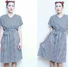 80s Retro Belted Houndstooth Dress Simple, draped v-neck dress with elastic waistband. Lightweight fabric with extra layer on bodice to hide sheerness. Vintage Dresses Midi