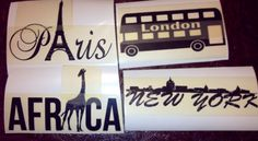Vinyl stickers I just made for my travel themed room I'm doing!!