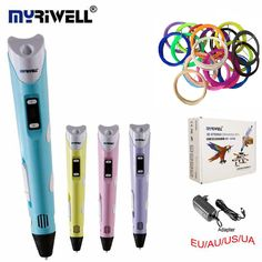 MYRIWELLL 3d Pen 2st Generation 3D Magic Pen LED Temperature Display Screen Add Free 20Color ABS Filament Best DIY Gift For Kids ** View the item in details on AliExpress website by clicking the VISIT button