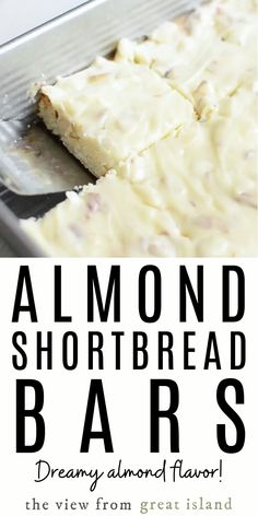 Almond Shortbread Bars an easy shortbread dessert recipe infused with a homemade almond paste and topped with a to-die-for sweet almond glaze! Dessert Bars, Dessert Recipes, Paste Recipe, Recipe Using Almond Paste, Almond Paste Cookies, Shortbread Bars, Homemade Shortbread, Homemade Breads, Almond Bars