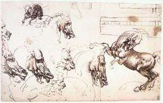 Leonardo da Vinci, Study of horses for the Battle of Anghiari on ArtStack #leonardo-da-vinci #art