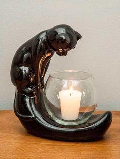 candelabro gato negro