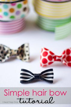 hair bow tutorial Learn how to make these simple and cute hair bows for less than a buck!Learn how to make these simple and cute hair bows for less than a buck! Cute Crafts, Diy And Crafts, Crafts For Kids, Arts And Crafts, Kids Diy, Craft Projects, Sewing Projects, Diy Hair Bows, Ribbon Hair