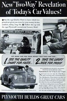 """Vintage Automobile Advertising: 1940 Plymouth, """"Plymouth Builds Great Cars""""."""