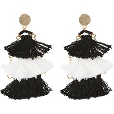 Panacea Black & White Layered Tassel Earrings ($13) ❤ liked on Polyvore featuring jewelry, earrings, white, tassel jewelry, white tassel earrings, tassel earrings, white and black earrings and chain earrings