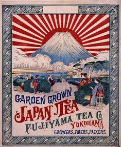 Ranji, label of Japanese green tea - Rising Sun on Mt. Fuji design - 旭日旗 明治・大正期の輸出用日本茶(緑茶)の木箱ラベル (Fujiyama Tea Co.)。このようなラベルは蘭字と呼ばれた。