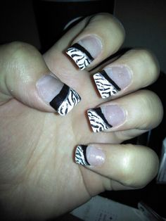 zebra nails for the wedding but yellow strip