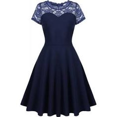 Navy Blue Short Sleeve Lace Patchwork Party Swing Skater Dress