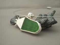 Sterling Silver and Seaglass Cuttlefish Cast Pendant.