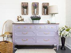 DIY Purple Dresser makeover with Divine Lavender - Fusion Mineral Paint Paint Furniture, Furniture Makeover, Purple Furniture, Furniture Design, Funky Furniture, Repurposed Furniture, Furniture Ideas, Bedroom Furniture, Purple Dresser