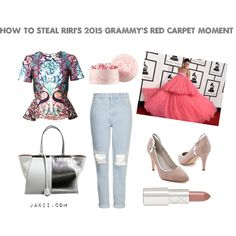 Rihanna Grammys 2015 by jakiishoes on Polyvore featuring Mary Katrantzou, Topshop, Fendi, By Terry and JakiiShoes