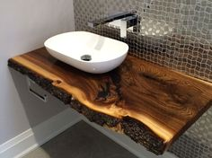 Waney edge / live edge bathroom and washroom counter tops.