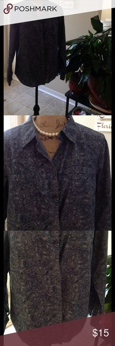 Croat & Borrow blue Button Down Blouse Blue printed Button Down Blouse. Great for business casual wear. croft & barrow Tops Button Down Shirts