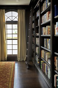 Black bookcases, dark wood floor, beautiful rug. No ladder though.