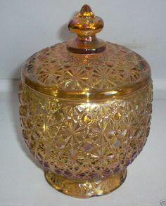 HTF Vtg/Antique Fenton Art Glass Daisy Button Marigold Carnival Glass Candy Dish