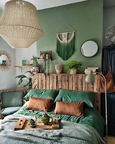 Home Decor Bedroom Everything in This Irish Cottage Has Been Upcycled or DIYed.Home Decor Bedroom Everything in This Irish Cottage Has Been Upcycled or DIYed Green Rooms, Bedroom Green, Home Bedroom, Bedroom Ideas, Bed Ideas, Bedroom Designs, Green Bedding, Earthy Bedroom, Modern Bedroom