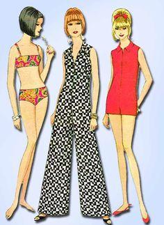 1960s Vintage McCall Sewing Pattern 8738 Misses Bathing Suit & Jumpsuit Sz 32 B